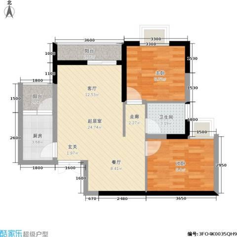 金地豪苑2室0厅1卫1厨60.00㎡户型图