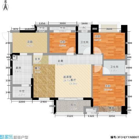 江山多娇滨江花园3室0厅2卫1厨88.00㎡户型图