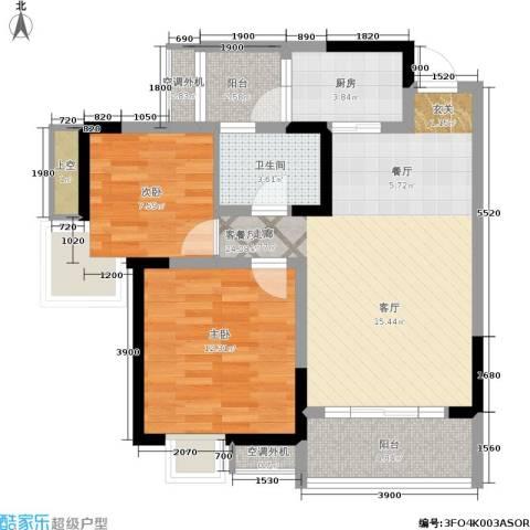 龙脊花园2室1厅1卫1厨91.00㎡户型图