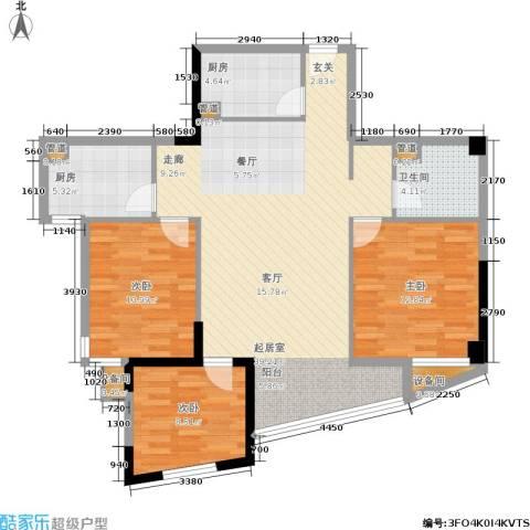 博泰景苑3室0厅1卫2厨143.00㎡户型图