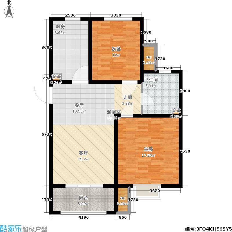 君悦花苑93.00㎡高层5、6号楼标准层B5户型2室2厅