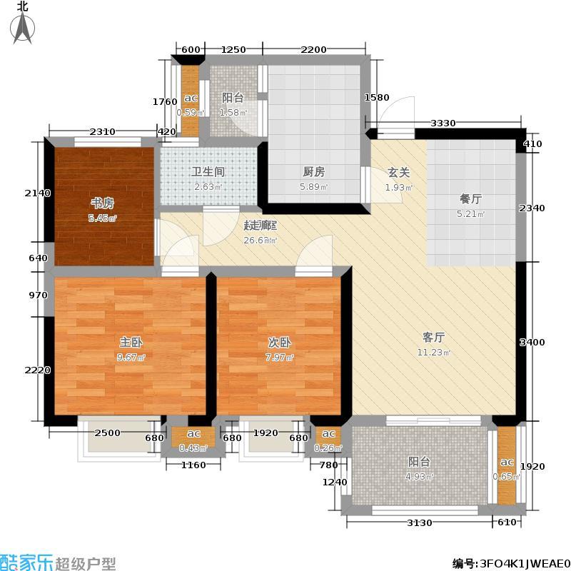 联投花山郡92.00㎡2期8、10号楼A4户型3室2厅