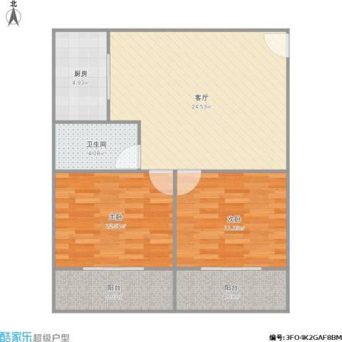 437709吴中商城2室1厅1卫1厨89.00㎡户型图