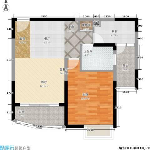 第五大道东方中华园1室1厅1卫1厨84.00㎡户型图