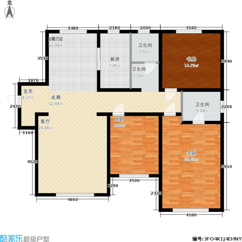 中海八里臺141.00㎡高层标准层C户型3室2厅
