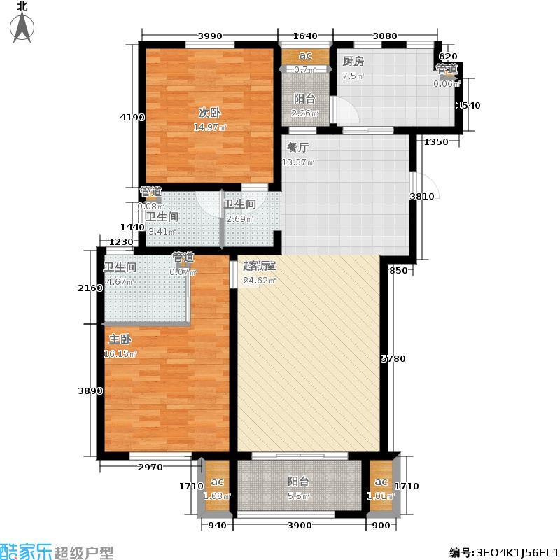 君悦花苑114.00㎡电梯洋房14-20号楼标准层A2户型2室2厅