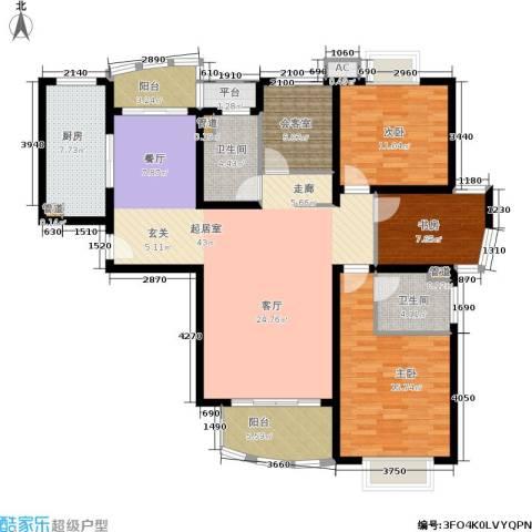 大华锦绣华城第16街区3室0厅2卫1厨135.00㎡户型图