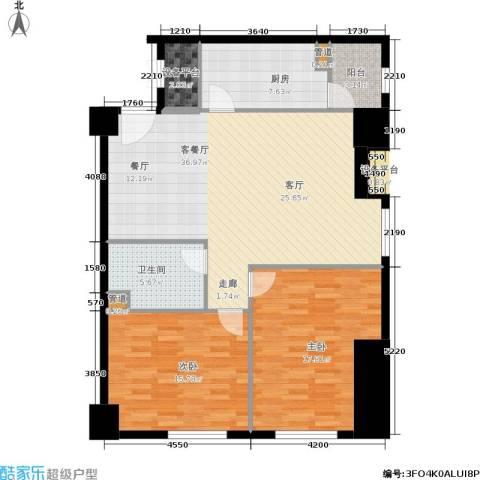 小寨金莎2室1厅1卫1厨129.00㎡户型图