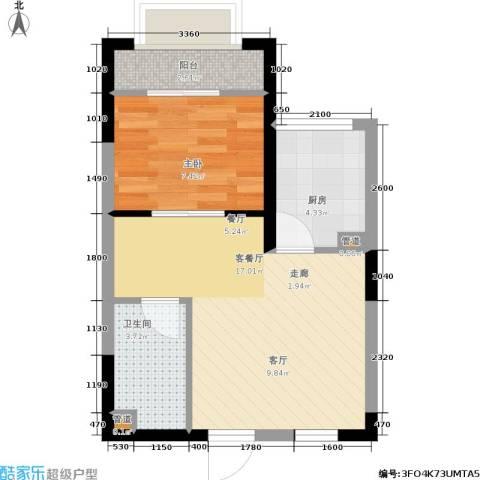 海天一品1室1厅1卫1厨51.00㎡户型图