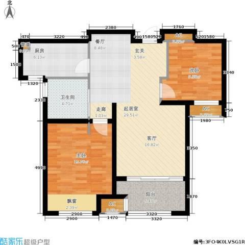 绿地梧桐院2室0厅1卫1厨82.00㎡户型图