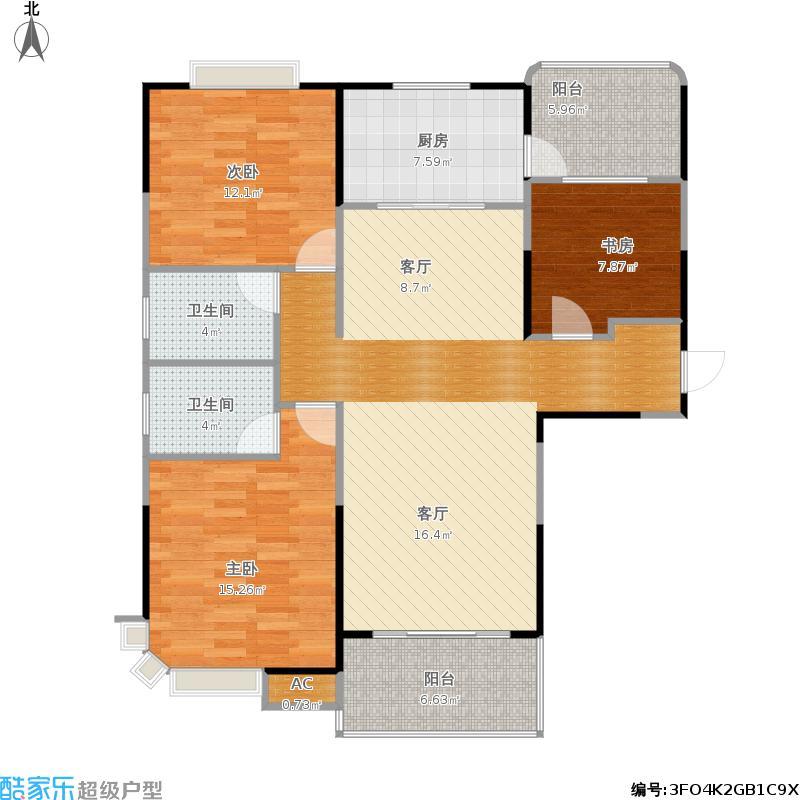 碧桂园·翠山蓝天J473户型三室两厅两卫