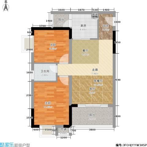 香堤花径2室1厅1卫1厨63.00㎡户型图