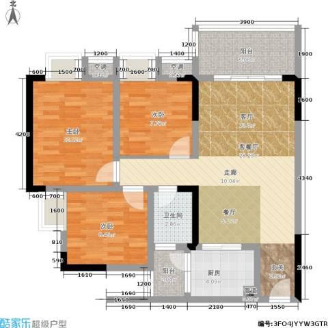 香堤花径3室1厅1卫1厨78.00㎡户型图