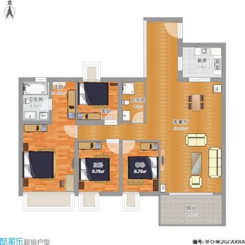 华信.城市美林花园4室1厅2卫1厨176.00㎡户型图