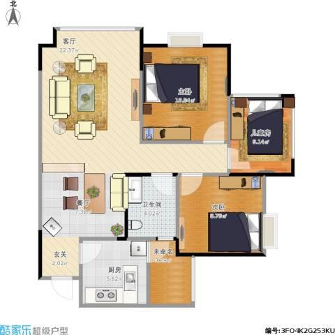 港九・香山屿3室1厅1卫1厨95.00㎡户型图