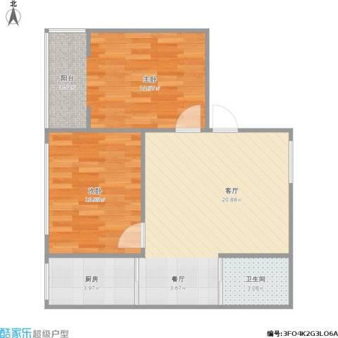 金海园2室1厅1卫1厨72.00㎡户型图