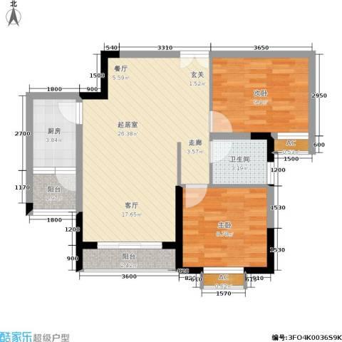 金地豪苑2室0厅1卫1厨61.00㎡户型图