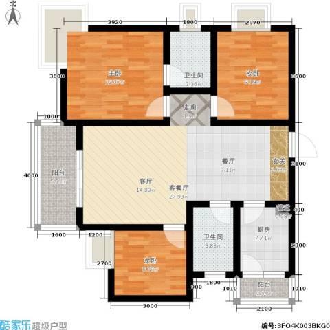 龙脊花园3室1厅2卫1厨107.00㎡户型图