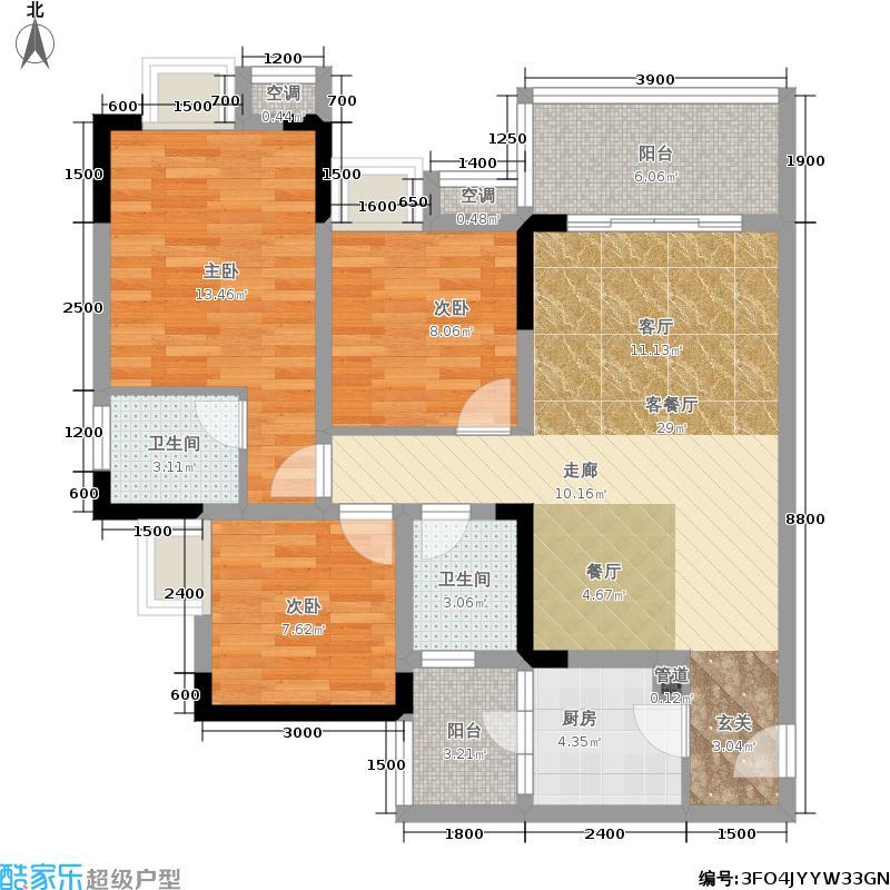 香堤花径84.82㎡一期1/2/3/4号楼面积8482m户型
