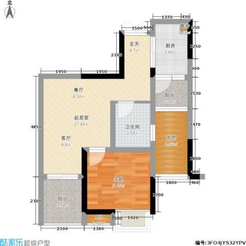 建工锦绣华城1室0厅1卫1厨68.00㎡户型图