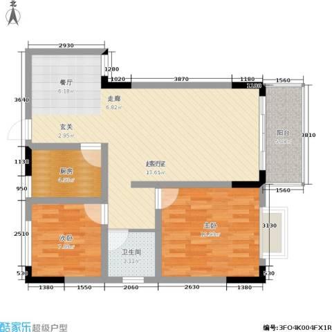 卫星・半岛花园2室0厅1卫1厨77.00㎡户型图