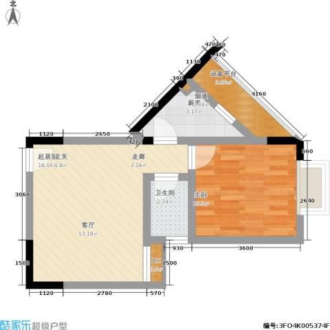 卫星・半岛花园1室0厅1卫1厨56.00㎡户型图