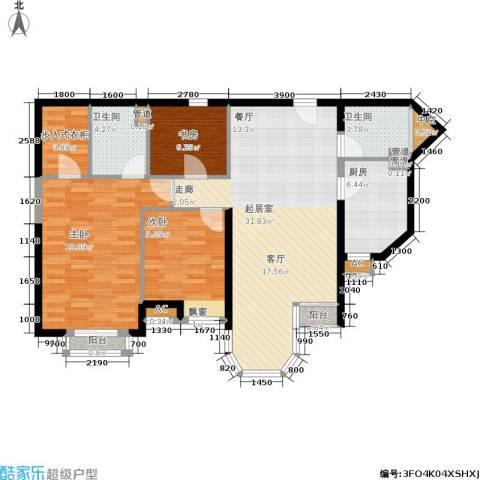 珠江峰景3室0厅2卫1厨126.00㎡户型图
