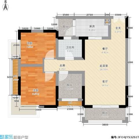 建工锦绣华城2室0厅1卫1厨66.00㎡户型图