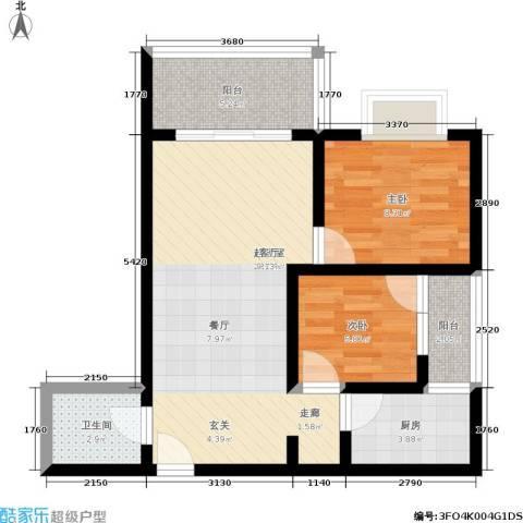 卫星・半岛花园2室0厅1卫1厨62.00㎡户型图