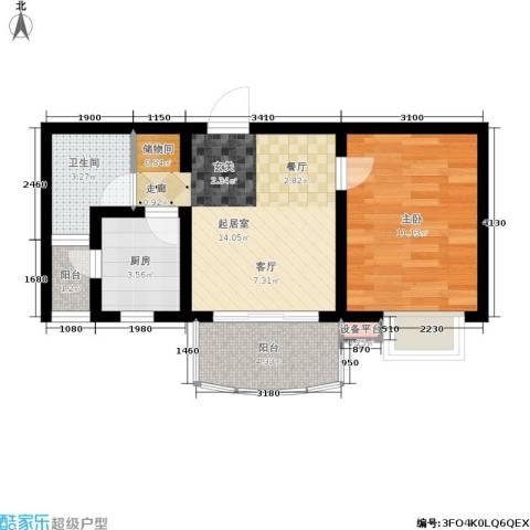 大上海国际花园1室0厅1卫1厨45.00㎡户型图