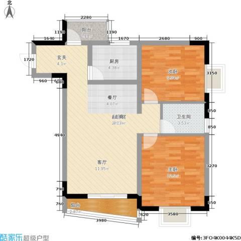 兴宇花园2室0厅1卫1厨77.00㎡户型图