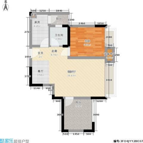 上城奥邻1室1厅1卫1厨56.00㎡户型图
