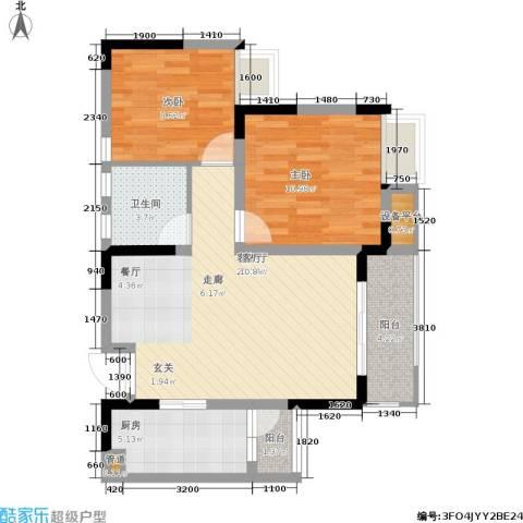 上城奥邻2室1厅1卫1厨62.00㎡户型图