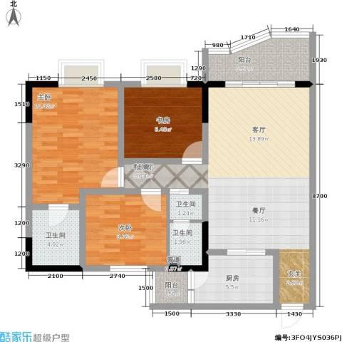 升伟新天地3室1厅3卫1厨92.00㎡户型图
