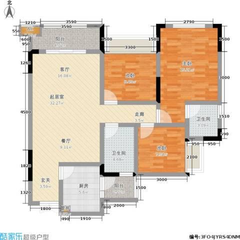 鲁能星城二街区3室0厅2卫1厨89.00㎡户型图