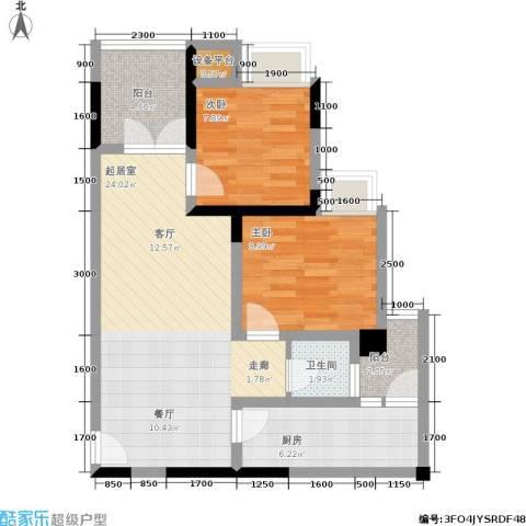 商社时代峰汇地块2室0厅1卫1厨76.00㎡户型图