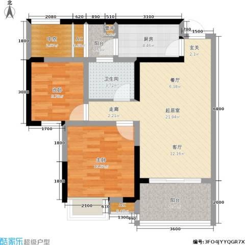 江南水乡2室0厅1卫1厨85.00㎡户型图