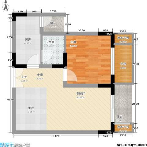 渝洲新城1室1厅1卫1厨46.00㎡户型图