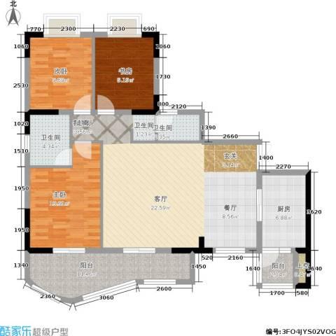 升伟新天地3室1厅2卫1厨120.00㎡户型图