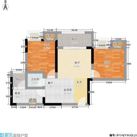 泽瑞琥珀天成2室0厅1卫1厨64.00㎡户型图