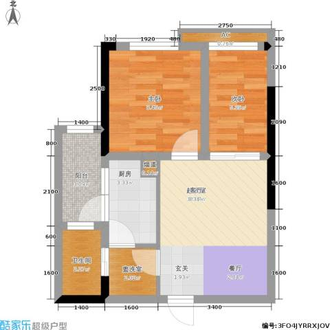 金科小城故事高层2室0厅1卫1厨47.00㎡户型图
