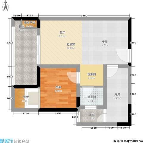 商社时代峰汇地块1室0厅1卫1厨57.00㎡户型图
