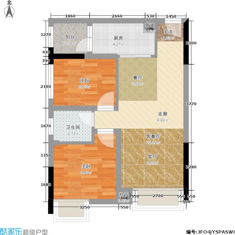 乐信爱琴屿55.02㎡二期1号楼标准层3号户型