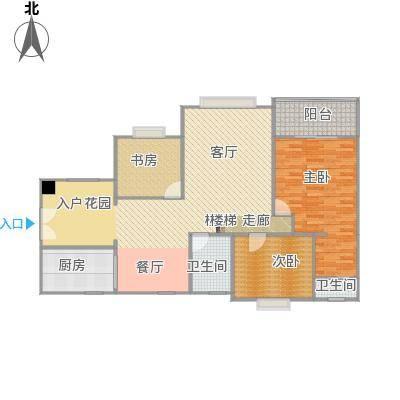 畔山龙庭D栋119.66平方三室两厅户型图(无家具)2