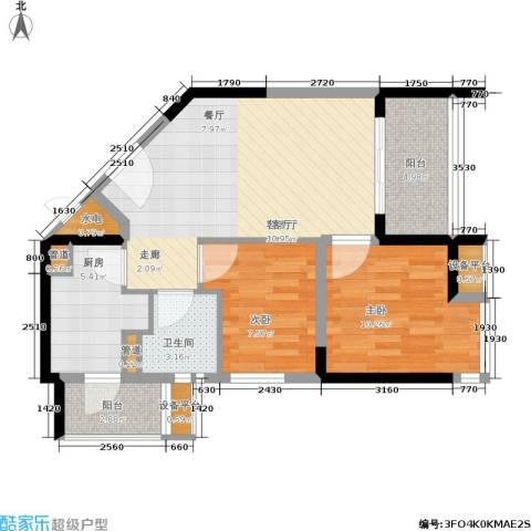 碧桂园十里金滩2室1厅1卫1厨68.00㎡户型图