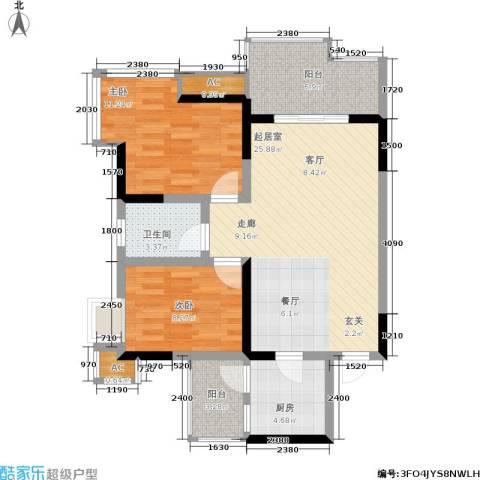 骏逸江南2室0厅1卫1厨73.00㎡户型图