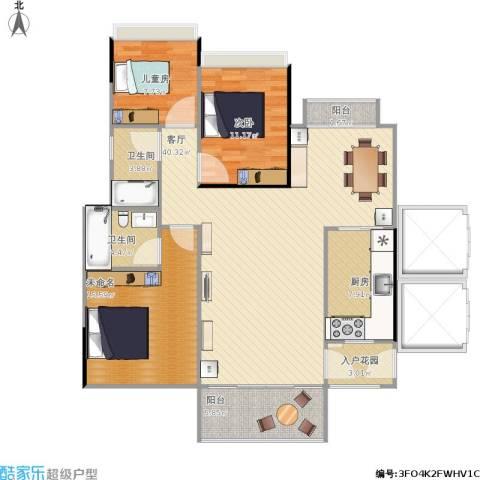 金海湾花园2室1厅2卫1厨110.66㎡户型图