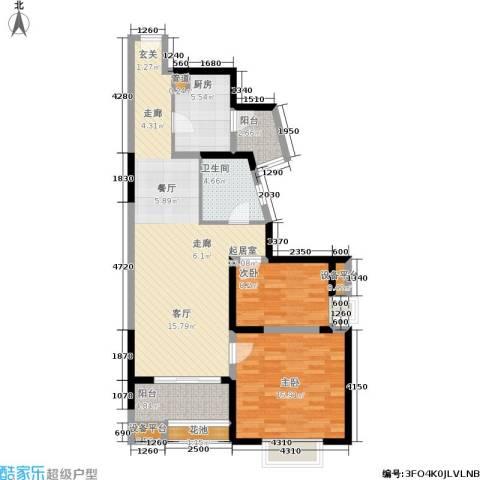 鑫苑国际城市花园2室0厅1卫1厨88.00㎡户型图