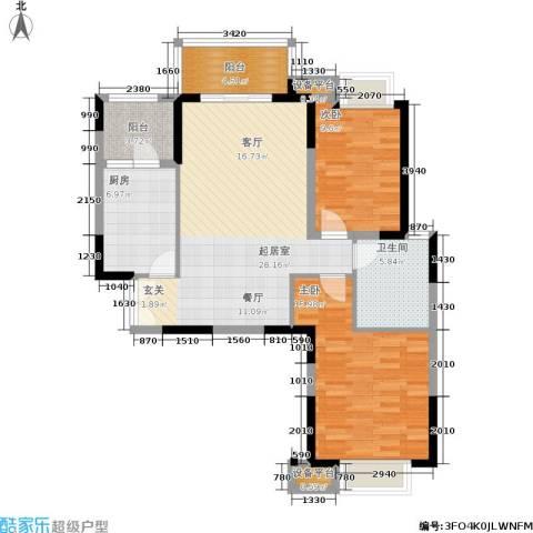 鑫苑国际城市花园2室0厅1卫1厨87.00㎡户型图