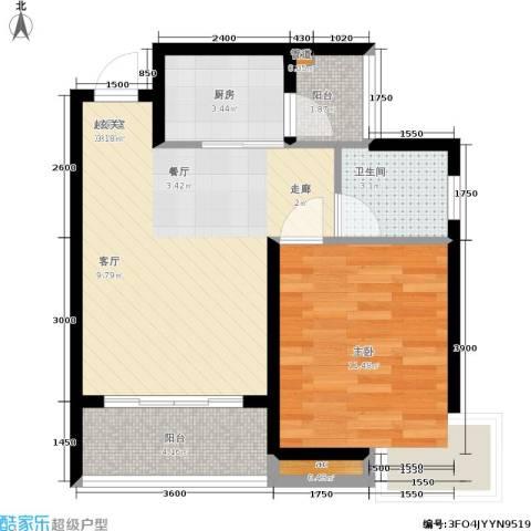 学林雅园1室0厅1卫1厨42.93㎡户型图